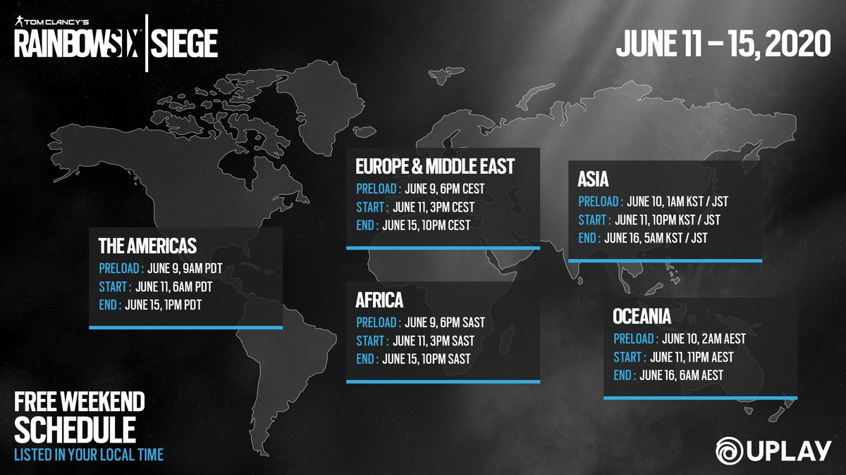 Ubisoft Uplay On Twitter Operators Are Always Prepared So You Should Be Too Here Are All The Important Dates And Times For The Upcoming Rainbow Six Siege Free Weekend Https T Co 044tyet8qa Https T Co 0mkjzikznb