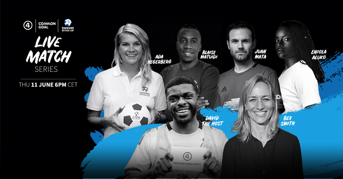 📺 | Common Goal Live Match 🗓️ | Tomorrow ⏰ | 6pm CEST 🏟️ | @433 YouTube  Starting Lineup: @AdaStolsmo | @juanmata8 | @MATUIDIBlaise | @EniAlu |@bexsmithkiwi | David Butler  They'll be teaming up with @danonenationcup & the next generation.  👉https://t.co/4RXcAhwSKJ https://t.co/76vCSGclHQ