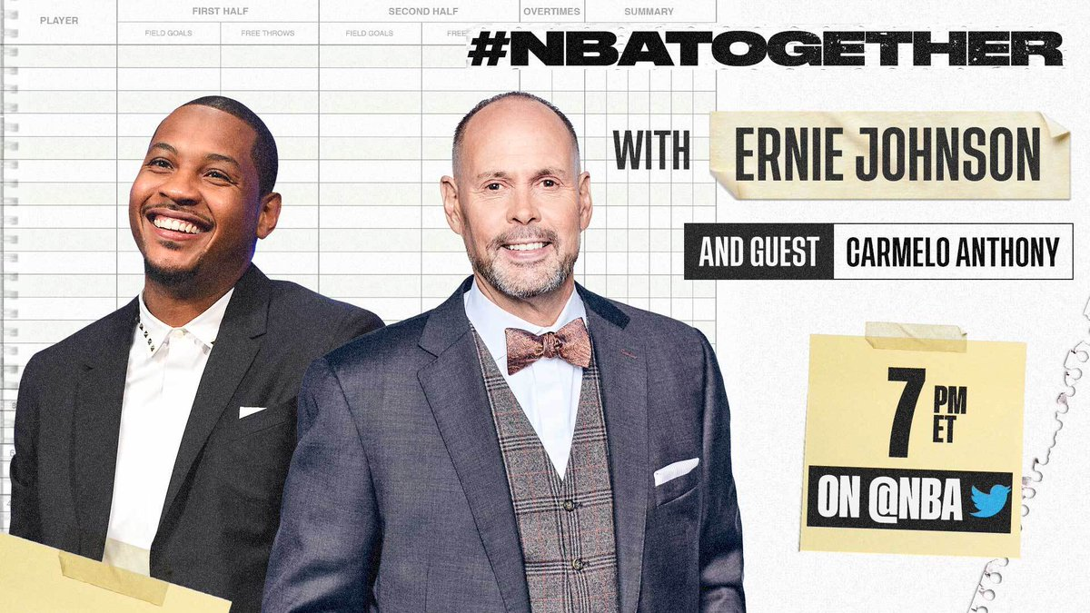 #NBATogether with Ernie Johnson (@TurnerSportsEJ) continues tonight at 7:00 PM ET on @NBA with 10x NBA All-Star @carmeloanthony. #NBAVoices https://t.co/7LeAQBcHO2