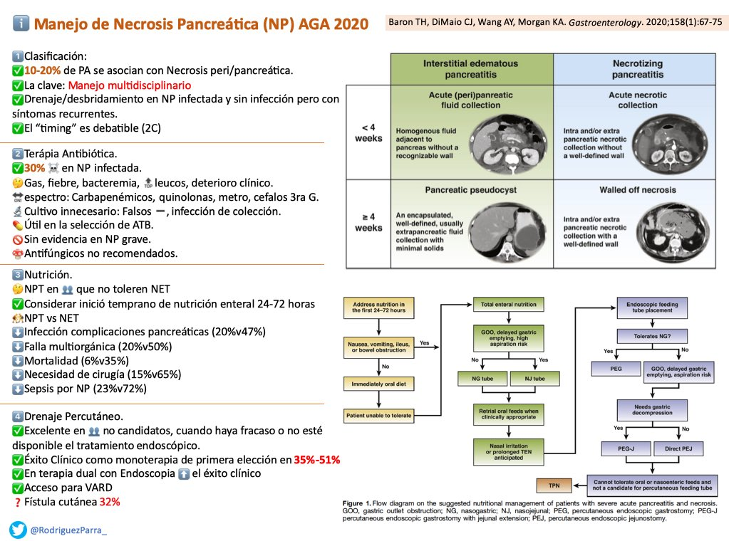 ⚠️Les comparto un resumen del Manejo de Necrosis Pancreática de @AmerGastroAssn, @gutdoc33 y cols.  1️⃣Clasificación 2️⃣ATB 3️⃣Nutrición 4️⃣Drenaje Percutáneo 5️⃣N Endoscópica 6️⃣N Quirúrgica 7️⃣Sx Ducto Pancreático Desconectado  #PancreasTwitter #ENARM2020  ▶️https://t.co/u0V4s5NP7G https://t.co/j12oEzjQK2