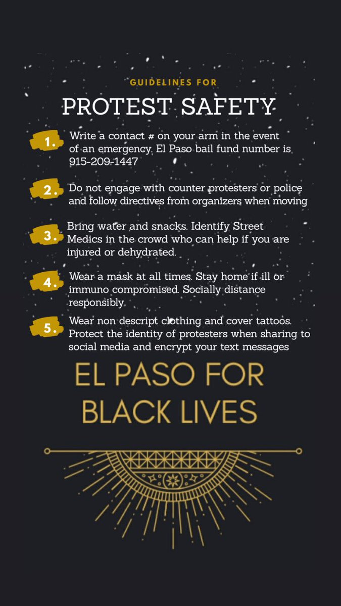 Safety tips for tonight's protest at 7:00 pm! ✨