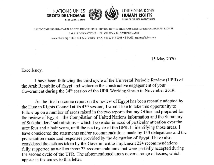 ICYMI, last month, UN High Commissioner for Human Rights @mbachelet sent a letter to Egypt's FM as is typical when UPR recommendations are adopted to highlight some of the key areas for follow-up, incl on due process & fair trial guarantees:  https:// lib.ohchr.org/HRBodies/UPR/D ocuments/Session34/EG/Letter-OHCHR-HC-Egypt-ENG.pdf  …  #UPR34 <br>http://pic.twitter.com/zUFEac0fvf