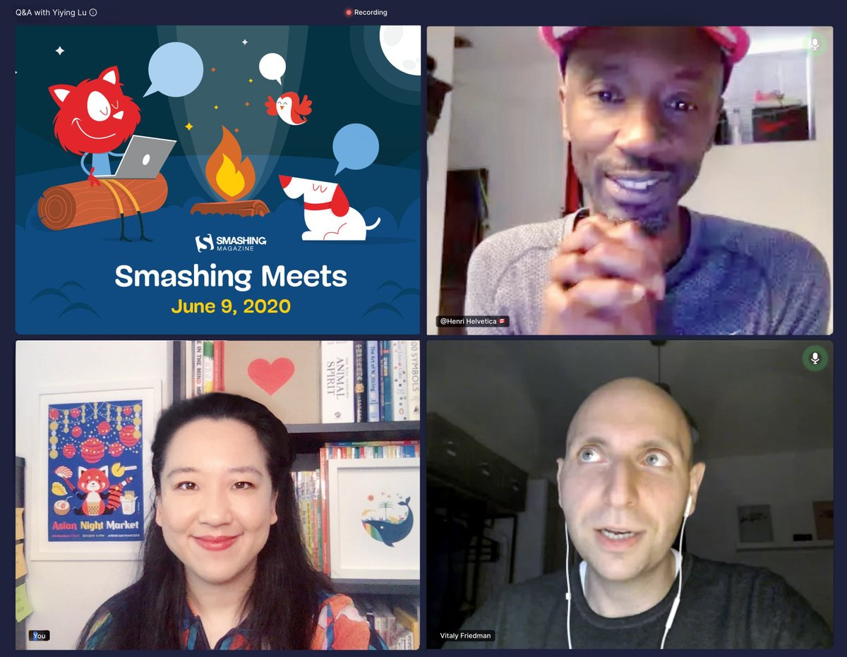 It's an honor to present my newest talk Creative Courage at @smashingmag Meets webinar yesterday. Such a wonderful virtual reunion with @HenriHelvetica and the entire @smashingconf team via @hopinofficial! Great to see you: @rachelandrew and @codebeast.
