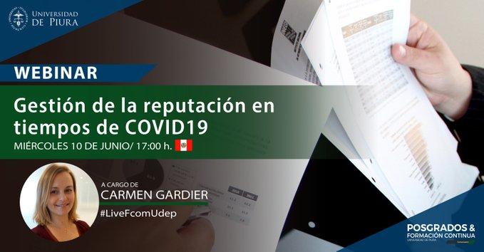 En breve, conversaremos con Carmen Gardier, Directora Senior de LLYC Perú, sobre cómo seguir construyendo #Reputación en tiempos de pandemia a través de la gestión de la comunicación. Participa ingresando aquí: //bit.ly/webinar_fcom_reputación #LiveFcomUdep #UdepEnLinea https://t.co/9Va8JianOr