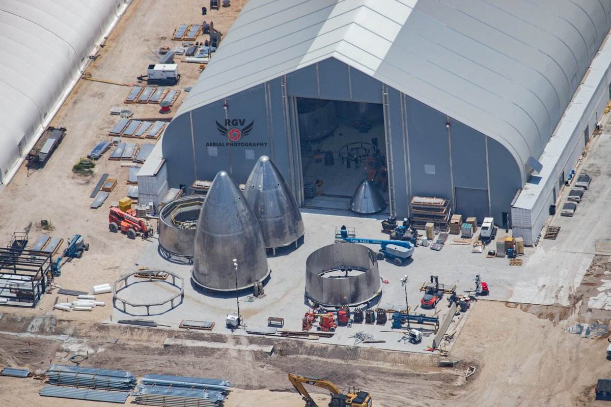"""RGV Aerial Photography on Twitter: """"I spot more nose cones inside the onion  tent. #spacex #bocachica #starship @elonmusk @SpaceX… """""""