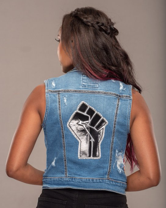2 pic. This vest will be auctioned Friday night on the @AEW_Heels Zoom Event! Proceeds going to the George