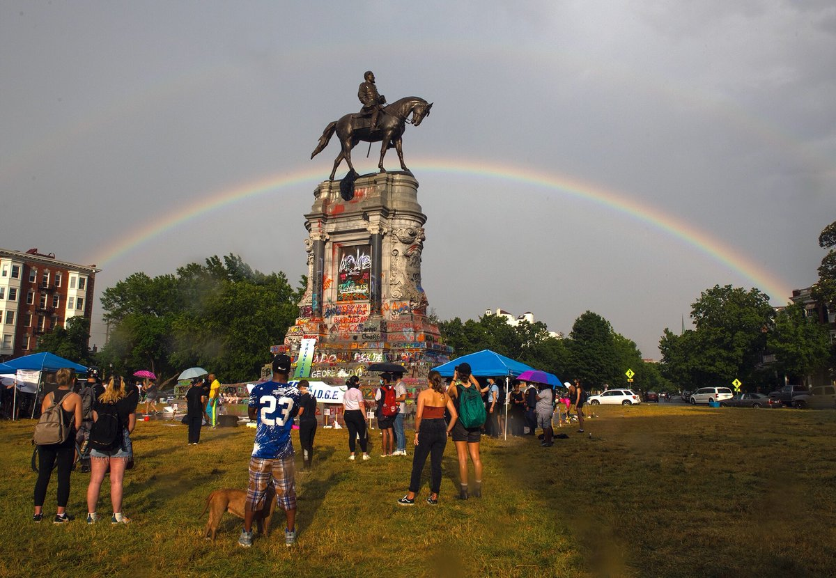A rainbow appeared this evening at the Robert E. Lee Monument following a brief rainstorm. Photo by Scott Elmquist.