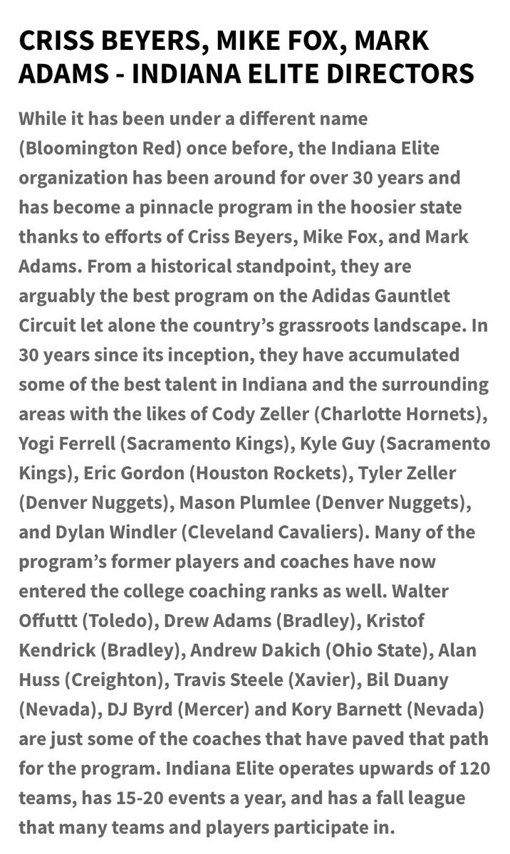 Congrats to Indiana Elite Directors Mike Fox and Criss Byers and Coach Mark Adams on being named top 100 most influential people in men's college basketball in 2020! #IEFamily https://t.co/LreTCjCAx7
