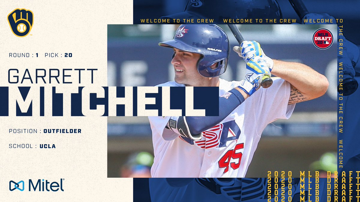 With the 20th selection of the 2020 #MLBDraft, the #Brewers select OF Garrett Mitchell from @UCLA. https://t.co/rBnWRcYL1q
