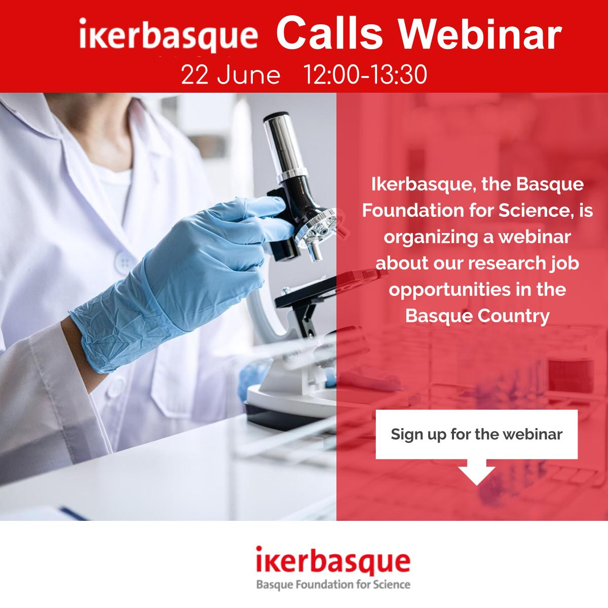 Wer are organizing a webinar about our research job opportunities in the Basque Country 🔴 Annually Ikerbasque offers 30 research positions for experienced postdoctoral researchers ⏩ This webinar will be in English 📌 Sign up for the webinar: https://t.co/CzCkeaJXJB https://t.co/WhA2o0170Y