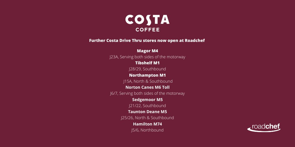 9 more of our @CostaCoffee Drive-Thrus have now reopened, so you can grab a delicious, barista crafted coffee from the comfort of your car ☕️ All of our Drive-Thrus have social distancing and extra safety measures in place, for both team members and customers. https://t.co/R0XHr3InQF
