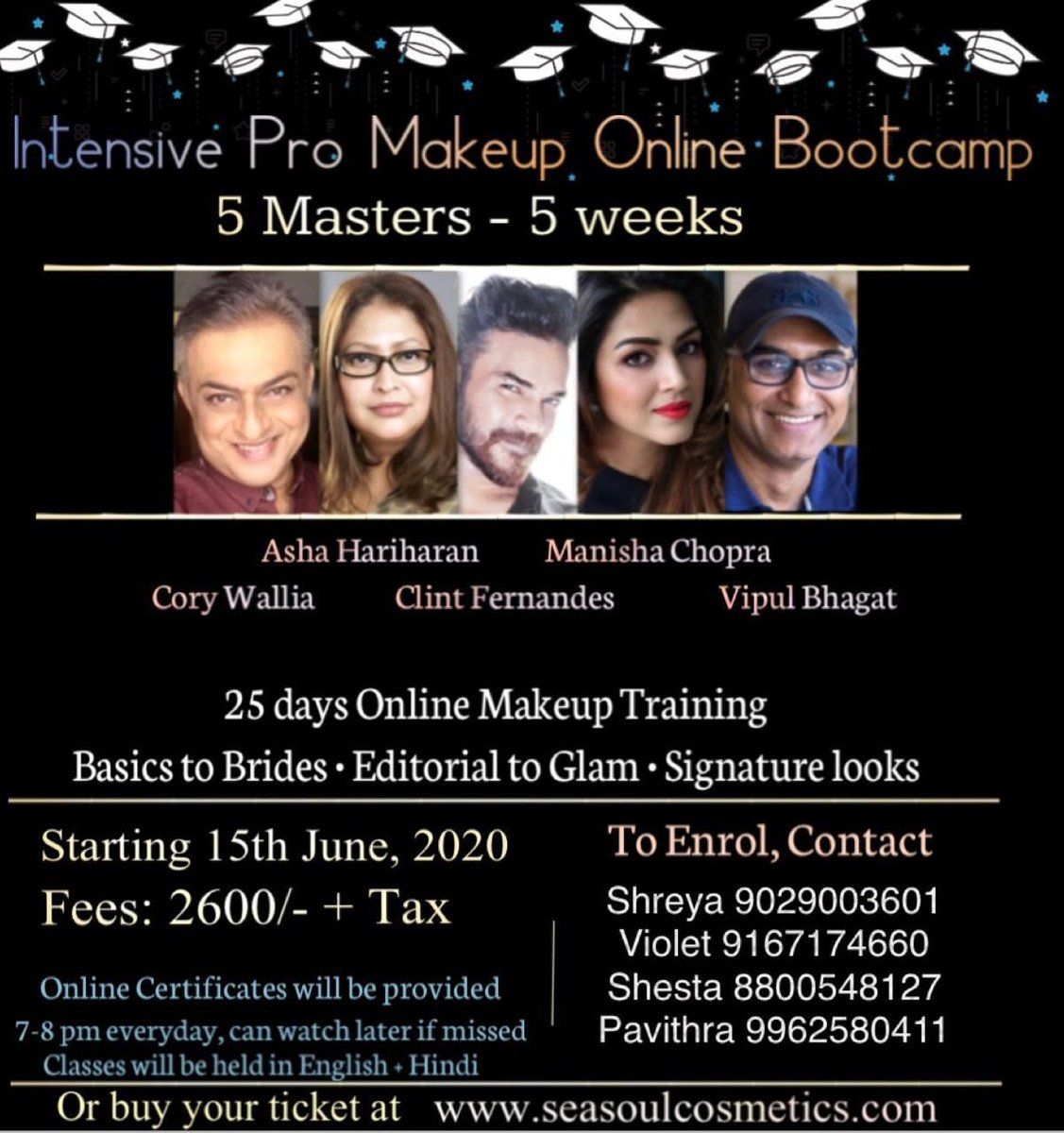 5 makeup masters coming together bringing you the best of knowledge and creativity during this lockdown.  The training will be held by experts including #AshaHariharan #CoryWalia #ClintFernandes #ManishChopra #Vipulbhagat  To know more visit the website mentioned above pic.twitter.com/G7qBwMOMeD