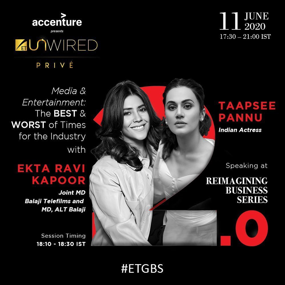 In conversation today, at the 'reimagining business series'. @taapsee @ET_GBS Global Business Summit #ETGBS #ETUnWired https://t.co/idjczhtRLy