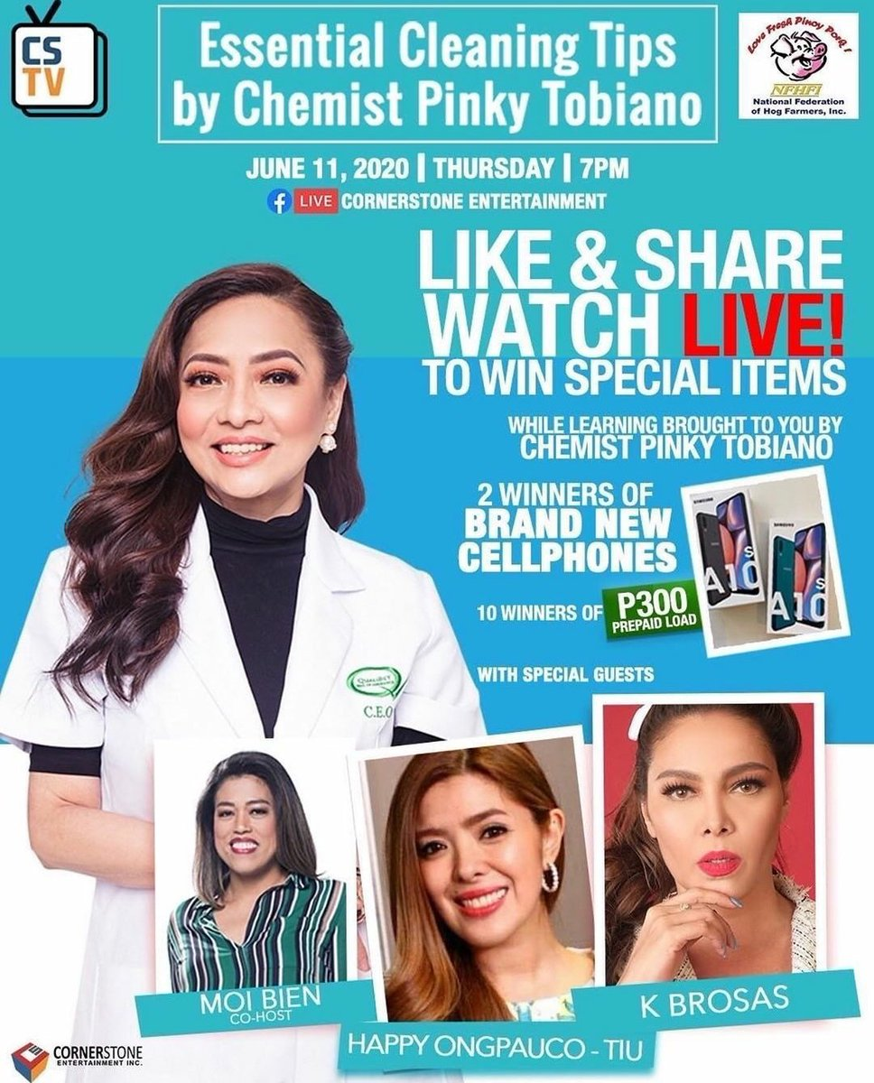 Reposted from @kbrosas Educational portion to hehe.. kita kits po! —  Essential Cleaning Tips by Chemist Pinky Tobiano June 11, 2020   7 PM LIVE on Cornerstone Ent. FB Page #CSTVLive #CSTVEssentialCleaningTips ❤️❤️❤️ https://t.co/jDaX4l35AT