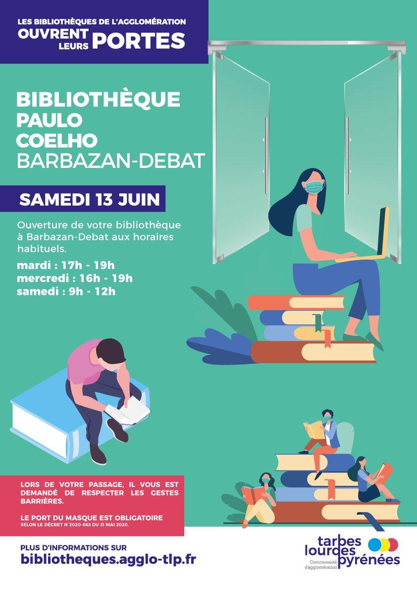 La #bibliothèque de #BarbazanDebat réouvre ses portes aux horaires habituels ! Rendez-vous ce samedi Livre ouvert ➡ Pour les bibliothèques de #Soues et de #Odos, gardez vos livres, vous les rapporterez en septembre à leurs réouvertures. https://t.co/k63WVwa1q9