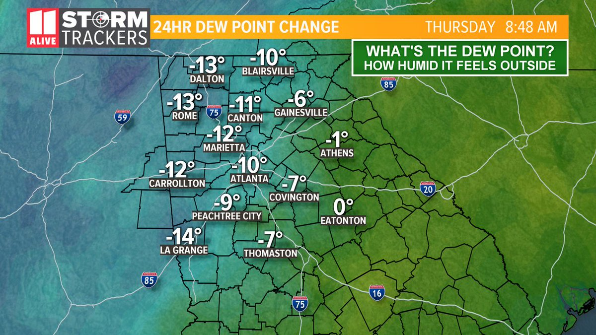 Hello dry air! Open the windows this morning! #gawx #storm11 #MorningRushATL
