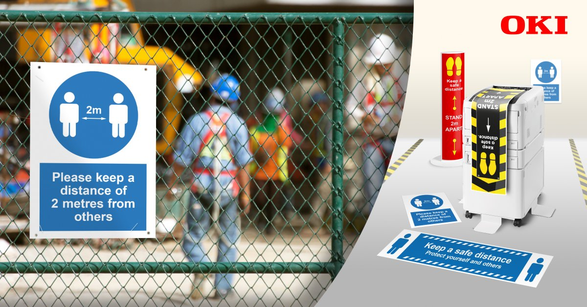 How can construction sites lay the right foundations to help workers #staysafe? Discover the key role of #socialdistancing signage in OKI Europe's blog: https://t.co/o7Y7uaPZbJ https://t.co/S6GSk4tz2T