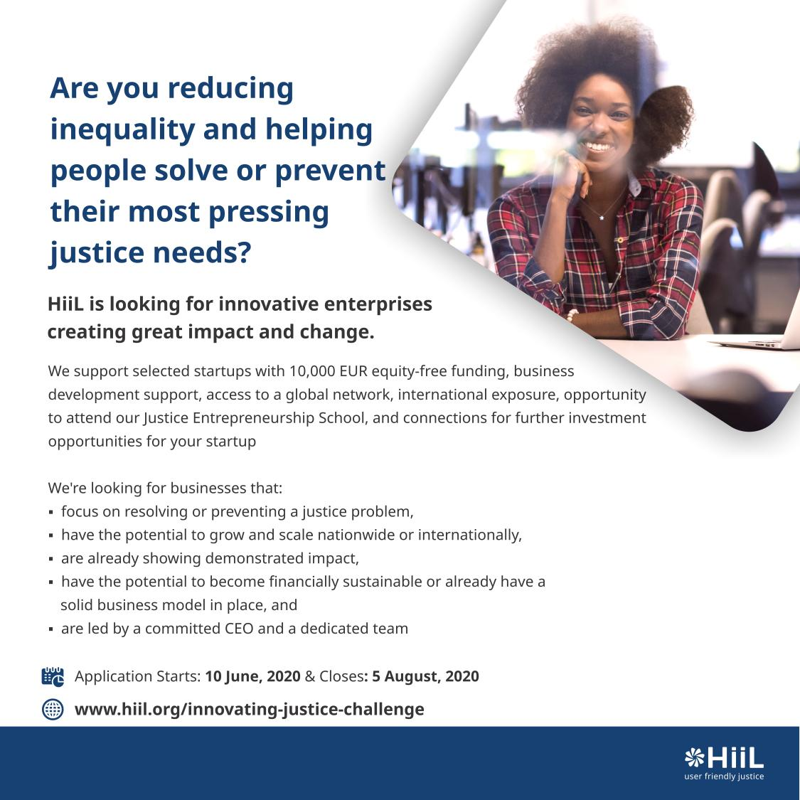 Is your solution creating access to justice, reducing inequality and unfairness? ⁣ ⁣ Then you should apply for the HiiL Innovating Justice Challenge 2020 via https://t.co/3947YFZEgx⁣ for a chance to be selected for support through the prestigious HiiL Justice Accelerator.⁣ https://t.co/FqzUt2GORk