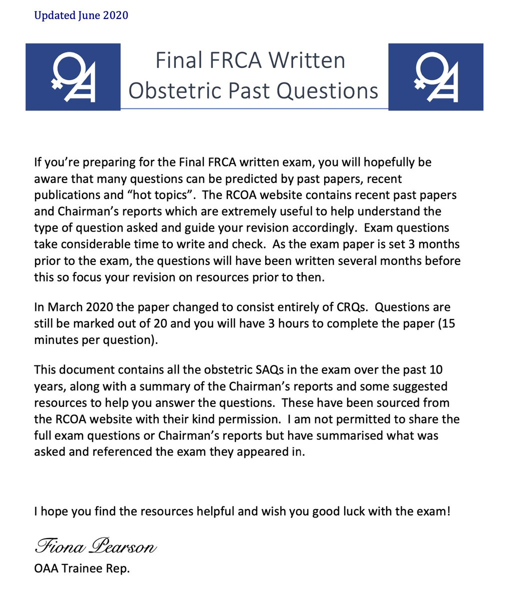 General anaesthesia for LSCS was the obs anaesthesia topic in March's @RCoANews Final FRCA CRQ. If you're studying for the Final CRQ in September, please check out the @OAAinfo exam resource here:  https://t.co/HsB4N6bNLr https://t.co/XEj88NmBkt