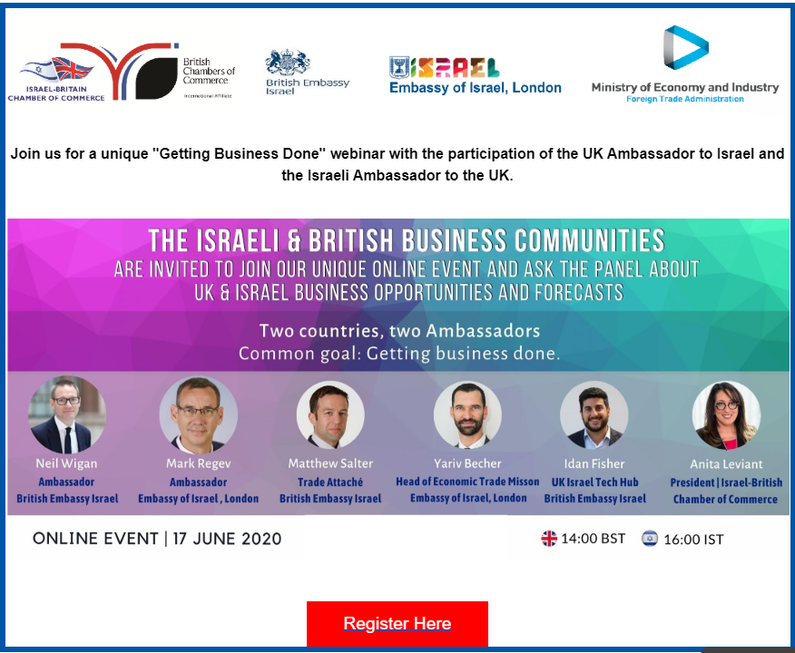 Join us for an online event for the 🇬🇧& 🇮🇱 business communities with Ambassadors @FCONeilWigan  and @MarkRegev. Register now and make sure to submit your question to the panelists! >>  https://t.co/q611qfSc9p https://t.co/Ye3wa9mIja