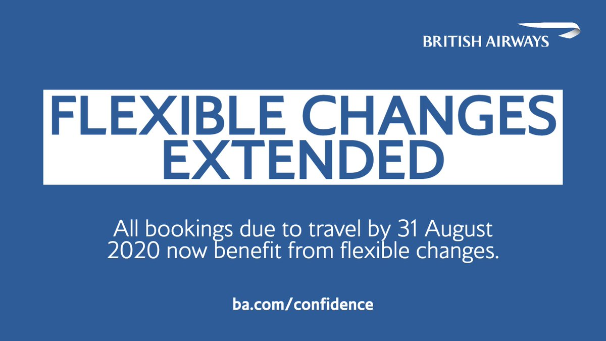 We've extended our flexible change policy. If you are due to depart by 31 August 2020 and need to change your travel plans due to the ongoing uncertainty around #COVID19, visit https://t.co/OvVGSRdIO4 to find out more. https://t.co/7zd5XDe4bw