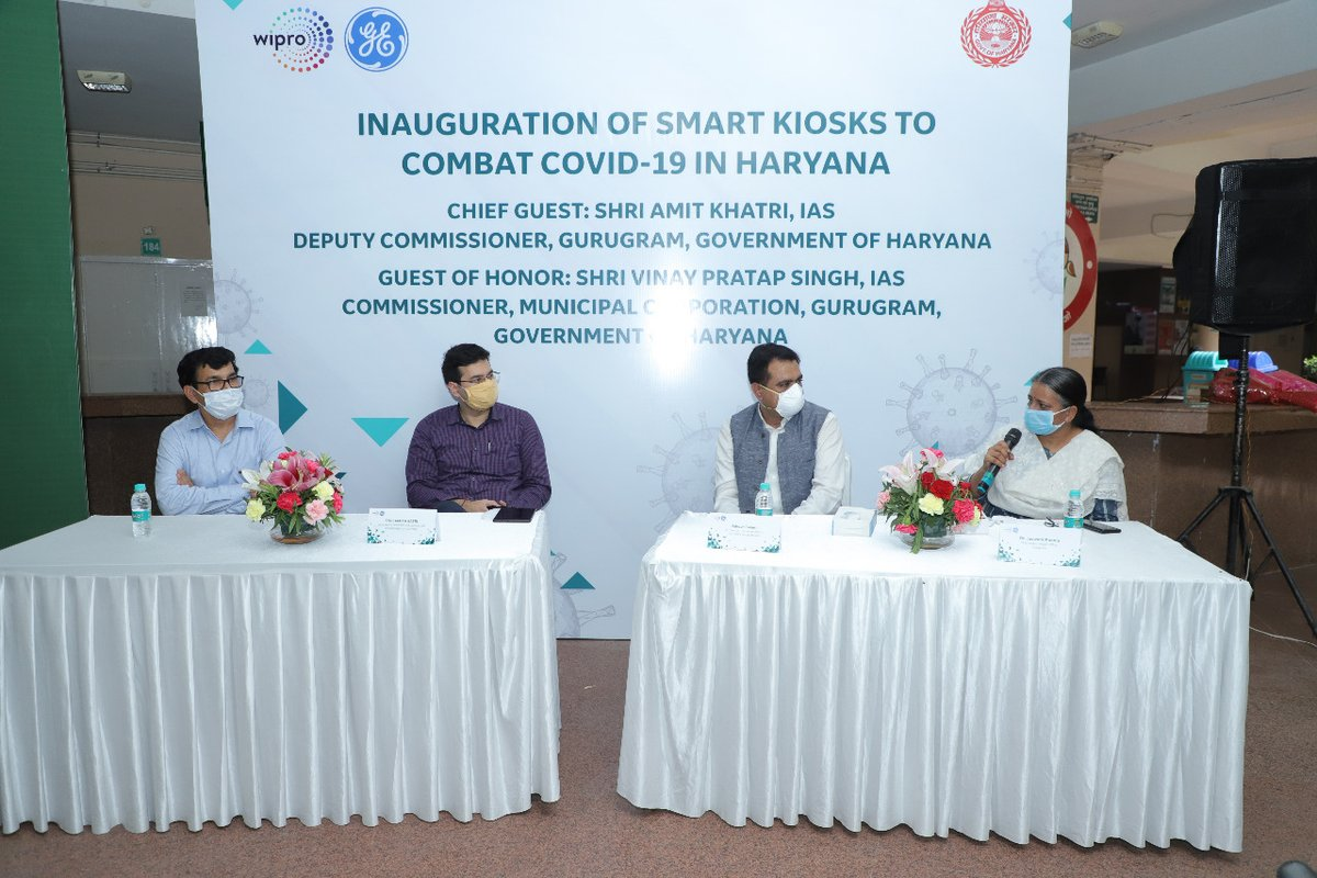 Proud to partner with Haryana in fight against #COVID19 #WarAgainstVirus   Launched 'Smart Kiosks' for COVID19 screening under leadership of @DC_Gurugram These kiosks eliminate any possible contact  One of the most impactful CSR initiatives of @GEHealthIndia @mlkhattar @cmohry https://t.co/3t1HpmLNWI