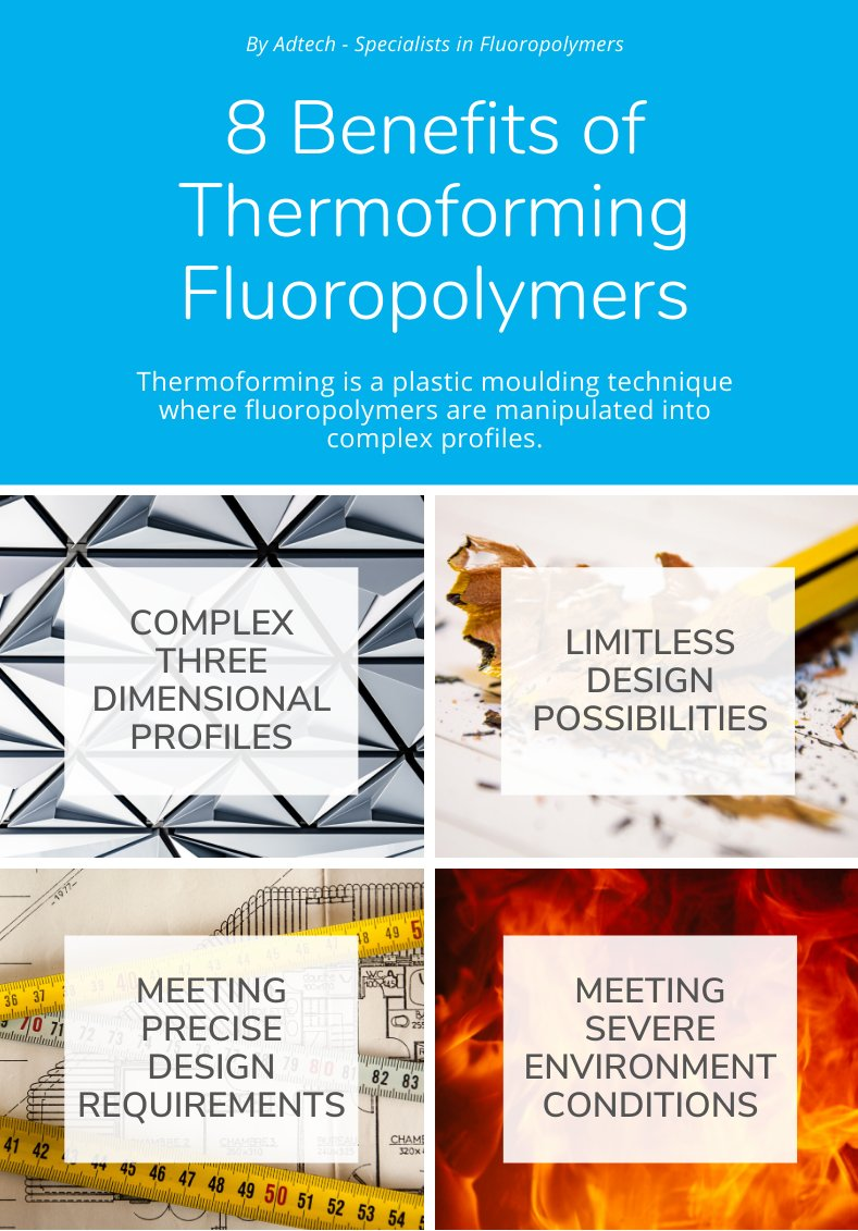 Thermoforming fluoropolymers offers many benefits, from limitless design possibilities to high structural standard and quick turnaround. Check out the full infographic here: https://t.co/PLOuWe2b2e #thermoforming #fluoropolymers https://t.co/7snB3HjSDo