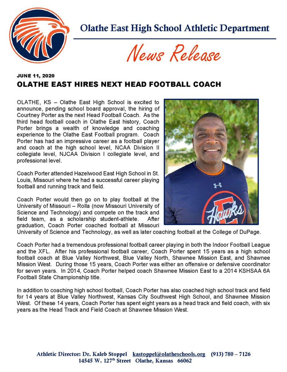 Pending school board approval, Olathe East hires next Head Football Coach, Courtney Porter!
