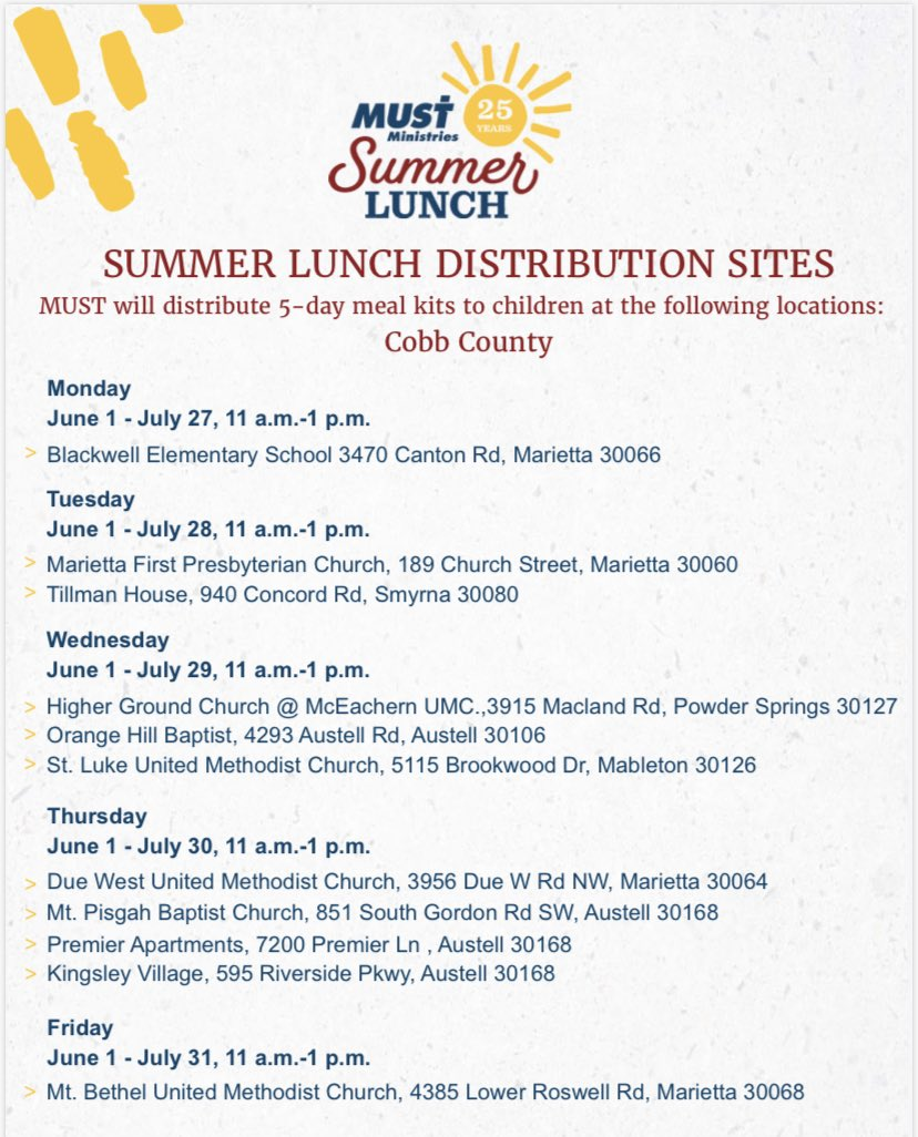 Summer meals for those in need! Retweet so the community is aware.