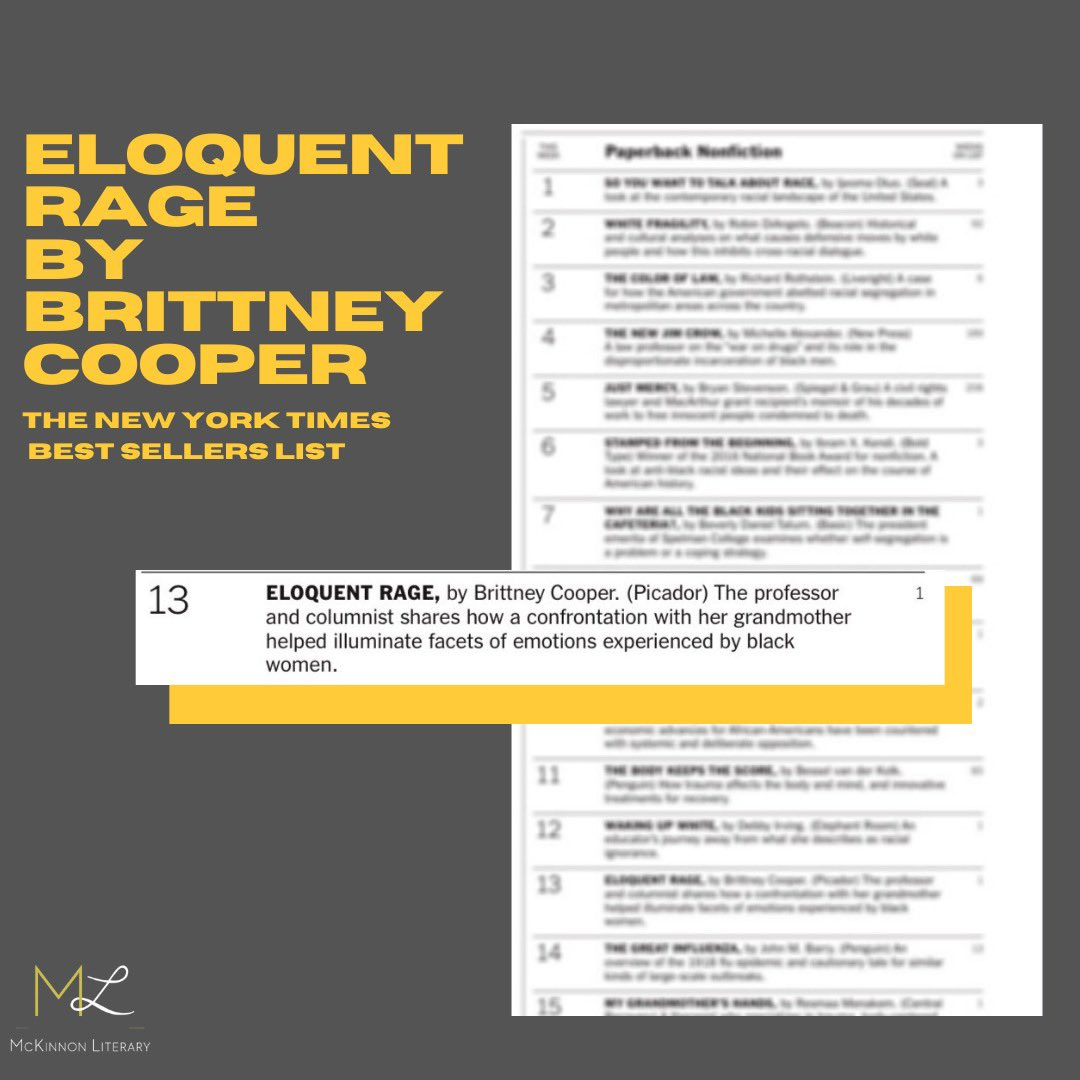 #EloquentRage is officially on the @nytimes Bestsellers List!!! I am so hype. Thank you all for your support!