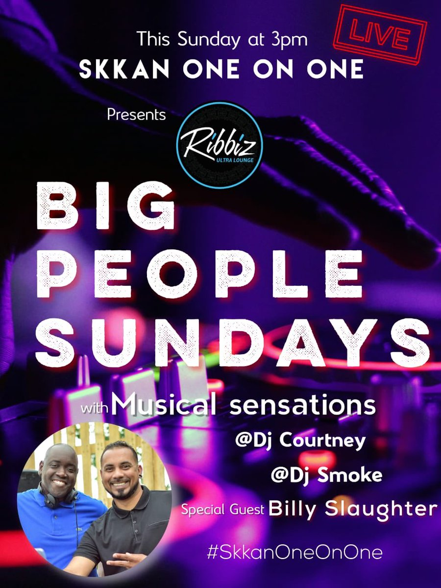 "Groove with us this Sunday at 3pm as we go ""Live"" on IG with @Skkanme @RibbizJa for #BigPeopleSundays  #WhoIsHere #DJCourtneyJm @DJSmokeJa & Special Guest Billy Slaughter Stone Love #SkkanOneOnOne #SkkanLIVE #Skkan #SkkanApproved #AdultsOnly  #BigPeopleThings #AlwaysGiveThanks <br>http://pic.twitter.com/xQBJgz90qg"