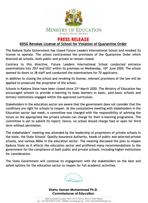 PRESS RELEASE: The @contactkdsg has closed Future Leaders International School and revoke it license to operate.