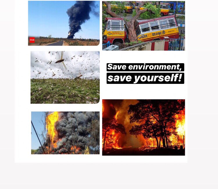 The more you destroy nature, the more destruction you will face.🙏🏻  #LocustAttack #assamfire #CycloneAmphan #gasleak  #CycloneNisarga #uttarakhandforestfire https://t.co/ICxxmRafpw