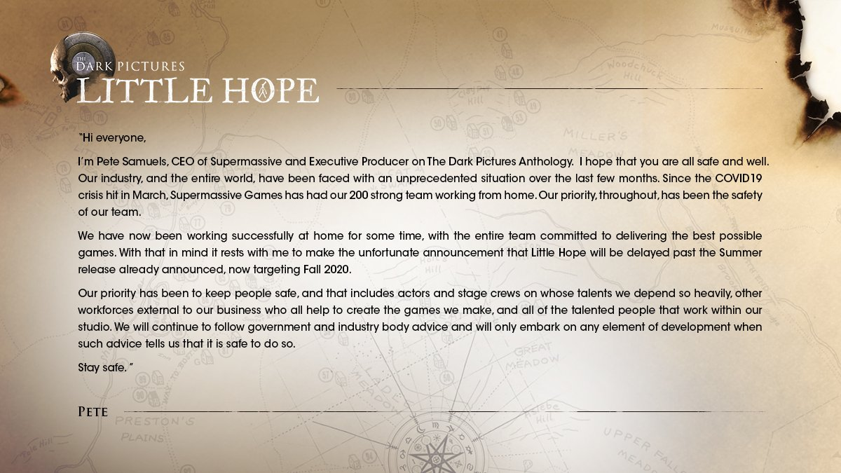 Pete Samuels, CEO of @SuperMGames, has an important message to share with you regarding the release of Little Hope. https://t.co/8Rt4Ys7ClU