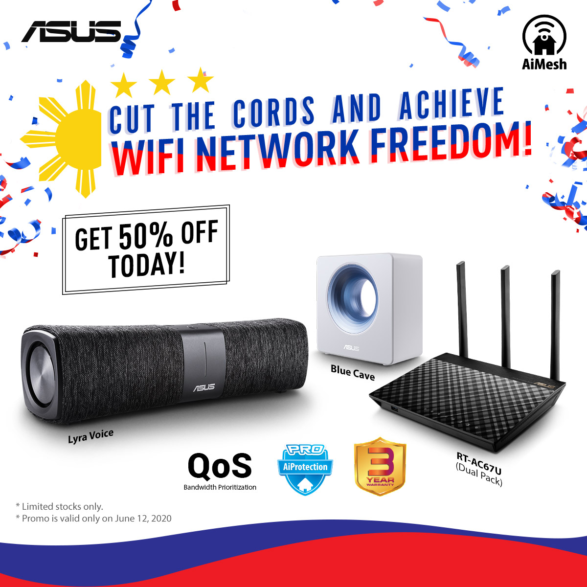 Together, let's commemorate Araw ng Kalayaan by gaining WiFi freedom!  We are slashing 50% off of our selected #AiMeshRouters today!  Offer limited in quantity and for today only. Buy now: 🛒https://t.co/q2N9eYjKLn  #IndependenceDayPh https://t.co/v90ls4Iag0