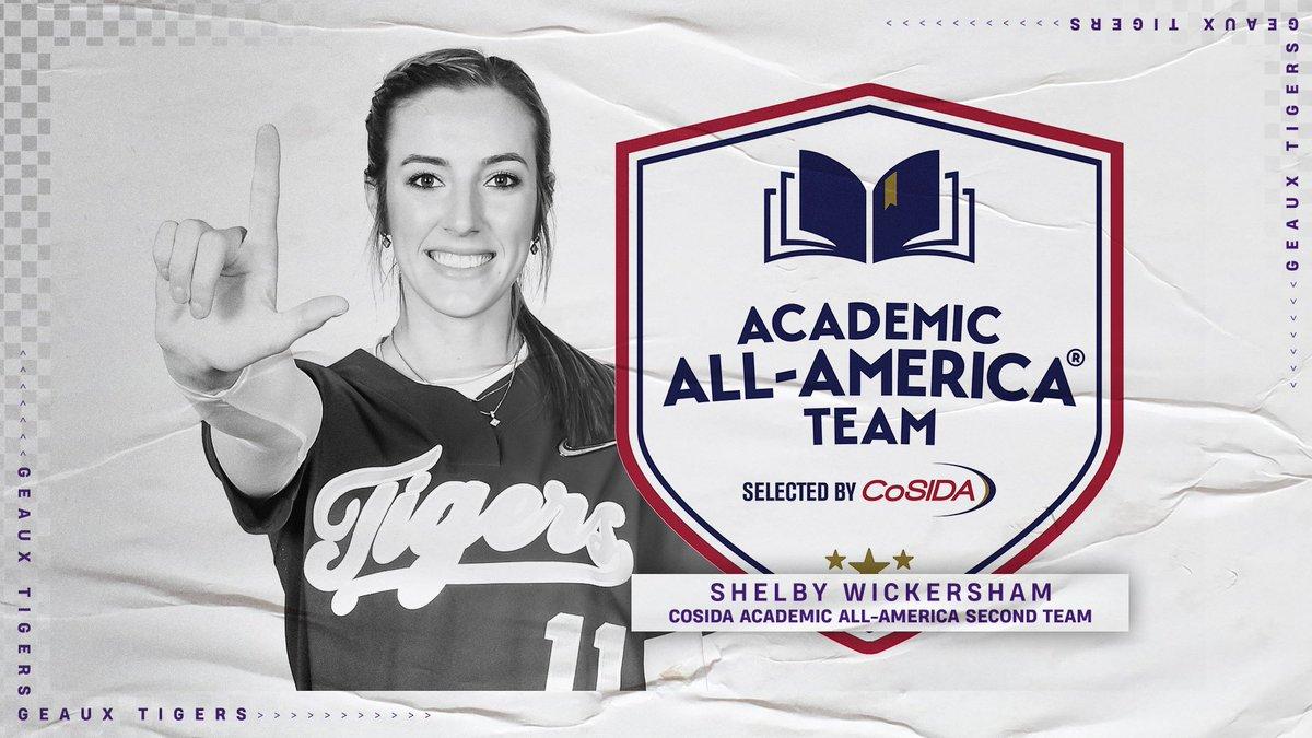 Congratulations to @shelbywick5 on earning @CoSIDAAcadAA All-America Second Team!   🔗: https://t.co/XLMtkn2tNs  #GeauxTigers https://t.co/Mk54YGClI7