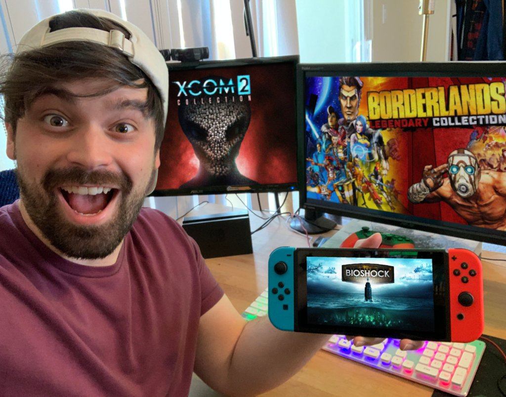 #ad @Bioshock, @Borderlands AND @xcom are now available on the Switch thanks to#2KSwitch.Thank you for keeping our boy Damien busy for the foreseeable future. <br>http://pic.twitter.com/wIJusegn2j