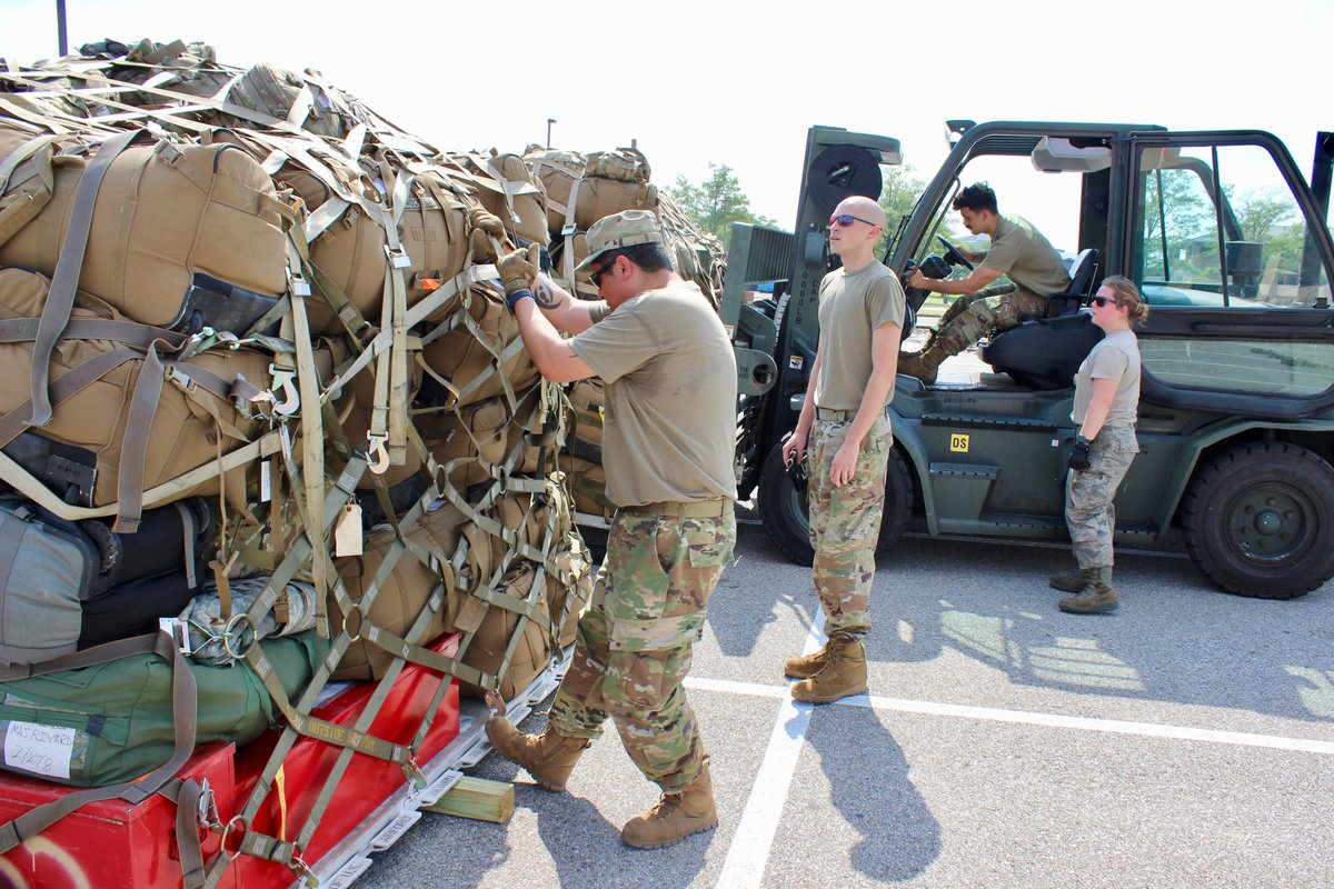 Members of the 113th Wing Maintenance Squadron build pallets for returning out-of-state Guardsmen June 7 - 11, 2020 in support of the D.C. National Guards civil unrest mission. #DCStrong #DCNGStrong