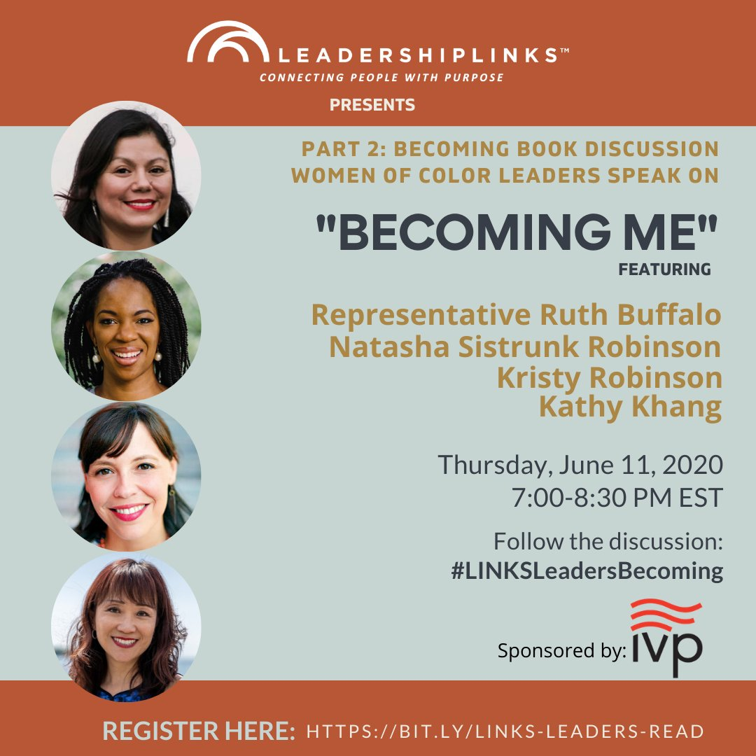 """Our #Becoming Book Discussion series takes place via live webinar broadcast on Thursday evenings at 7 PM EST / 6 PM CST. LINKS Leaders are reflecting on the book """"Becoming"""" by @MichelleObama. Register using our link. #WatchBecoming  #LINKSLeadersBecoming #LINKSLeaderStories"""