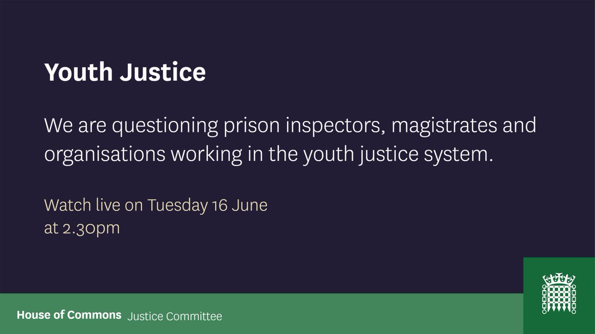 📅 On Tuesday from 2.30pm we will take evidence for our inquiry into the youth justice system.  We will hear from: @HMIPrisonsnews  @_YJB  @AssnYOTmanagers  @MagsAssoc @theSCYJ   📺 Watch online: https://t.co/4gBvvH34AZ https://t.co/4UDeaMhyMd