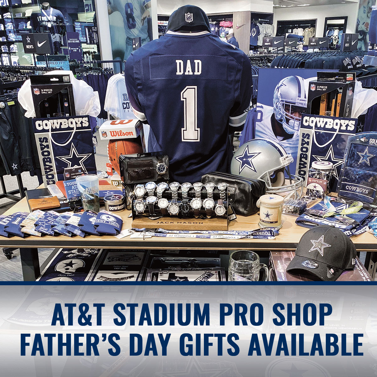 #CowboysNation, join us in the #ATTStadium Pro Shop for your #FathersDay gifts! 🌟 https://t.co/PEo3r49pbW