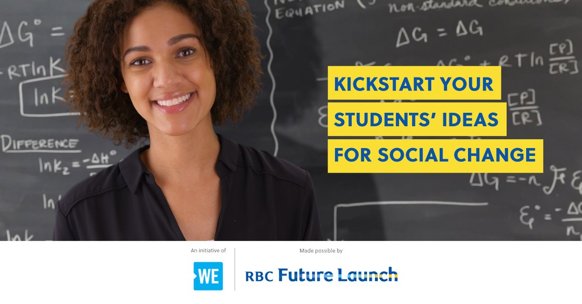 WE Are Social Entrepreneurs, powered by RBC Future Launch, helps your students develop skills and business ideas for social good.   Sign your class up for a free facilitated 2-hour workshop!   Register Now - https://t.co/FSYciCpcp3 https://t.co/bffPUG3xOb