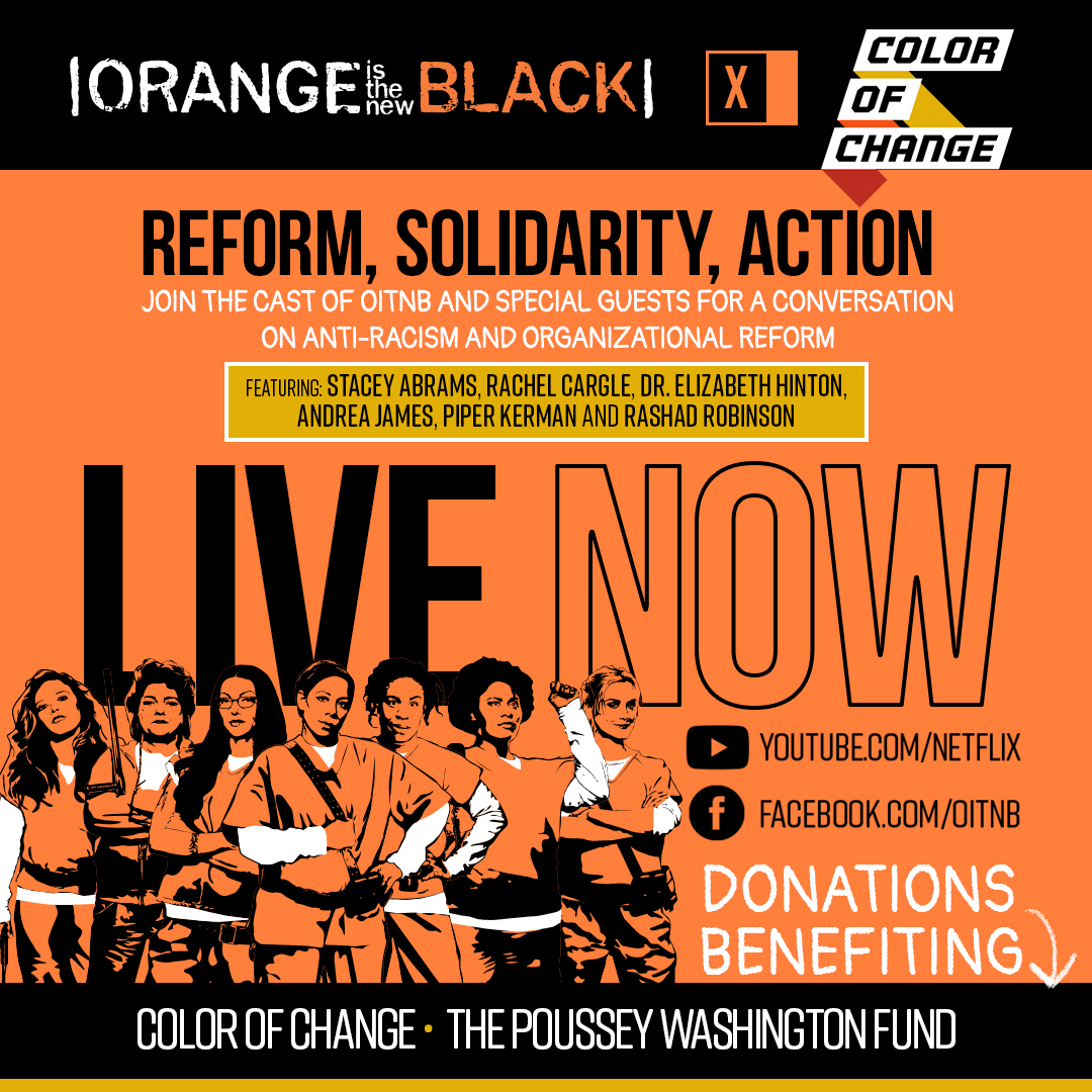 #NowStreaming OITNB x Color Of Change: Reform, Solidarity, Action. Tune in on https://t.co/DXeA6VihkF https://t.co/YQNzXUtN4k