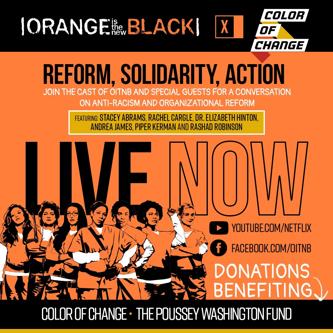 Join us in just a few minutes with the cast of OITNB at 2PM PT for an important conversation about solidarity and reform in the fight against racism.  https://t.co/6pxBfKyAUR https://t.co/Zs1pbUEsEN