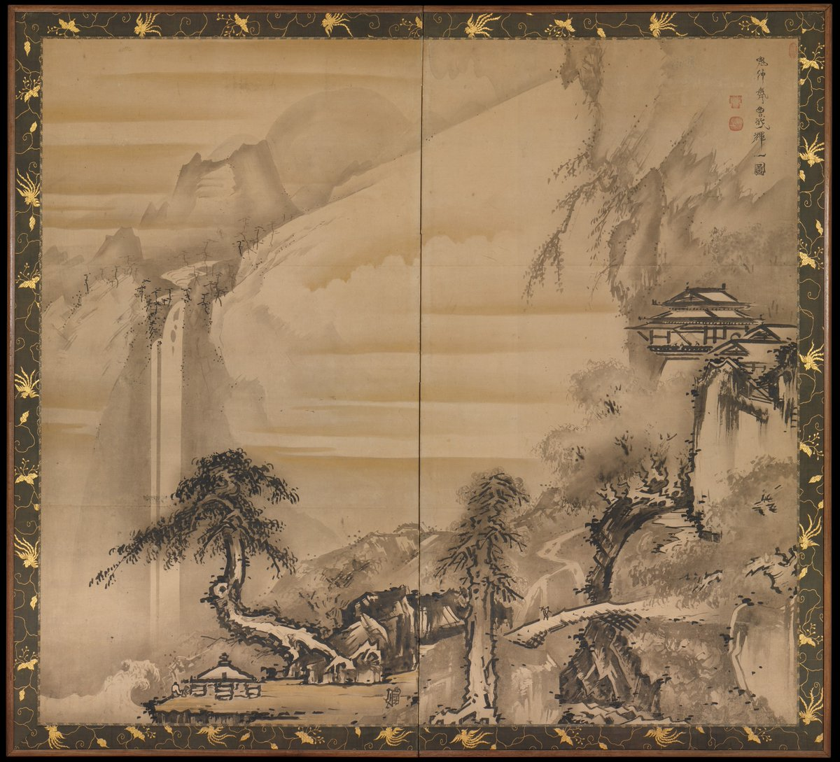 Chinese Scholar Contemplating a Waterfall, by follower of Soga Shōhaku (1730–1781)  #suibokuga <br>http://pic.twitter.com/X7xxb0LgxQ