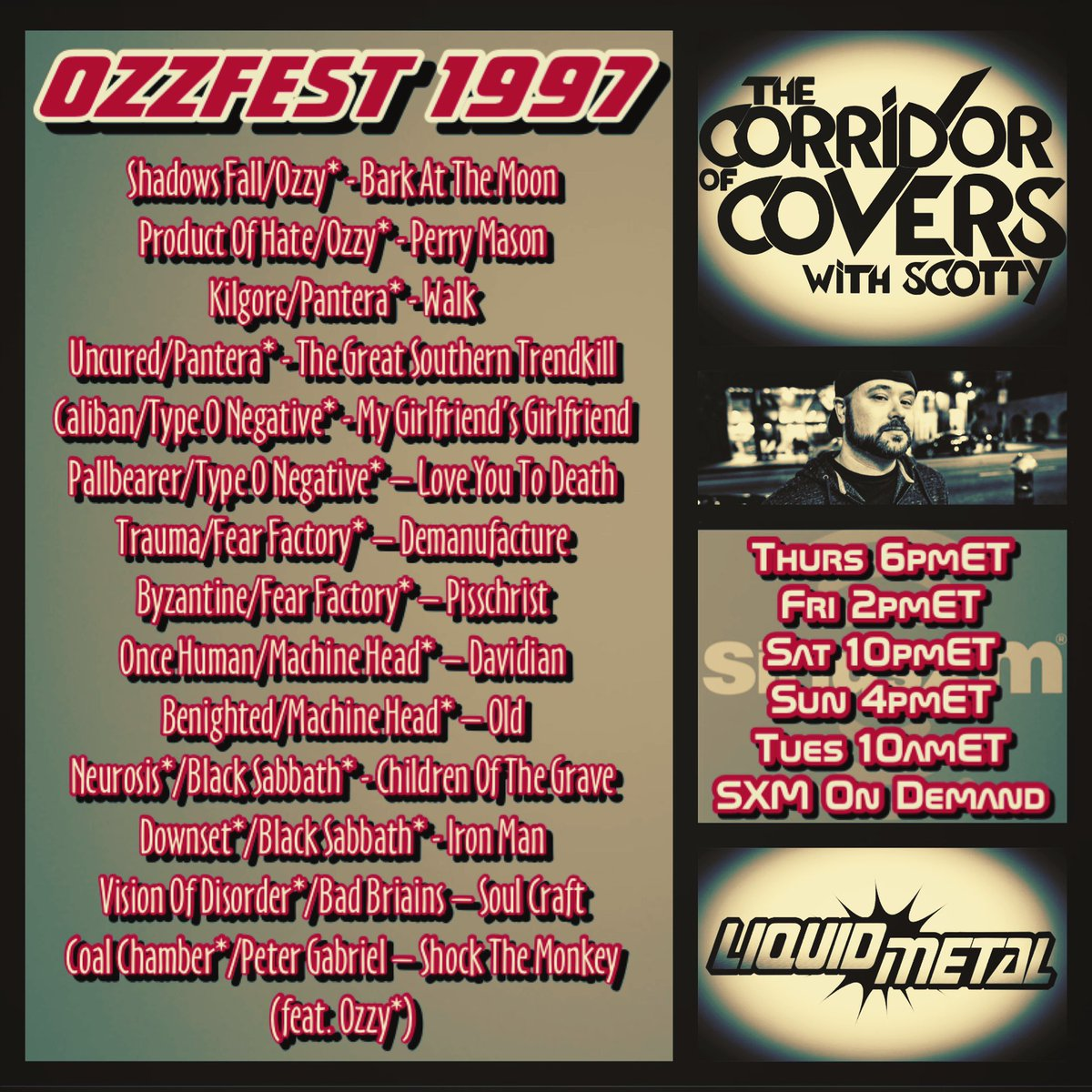 #corridorofcovers w/ @scottcrynock on #sxmliquidmetal .. where you at #ozzfest '97? Remember seeing any of these bands*? #metal #heavymetal #siriusxm #coversong #metalcovers pic.twitter.com/iJ3FpTuQQY