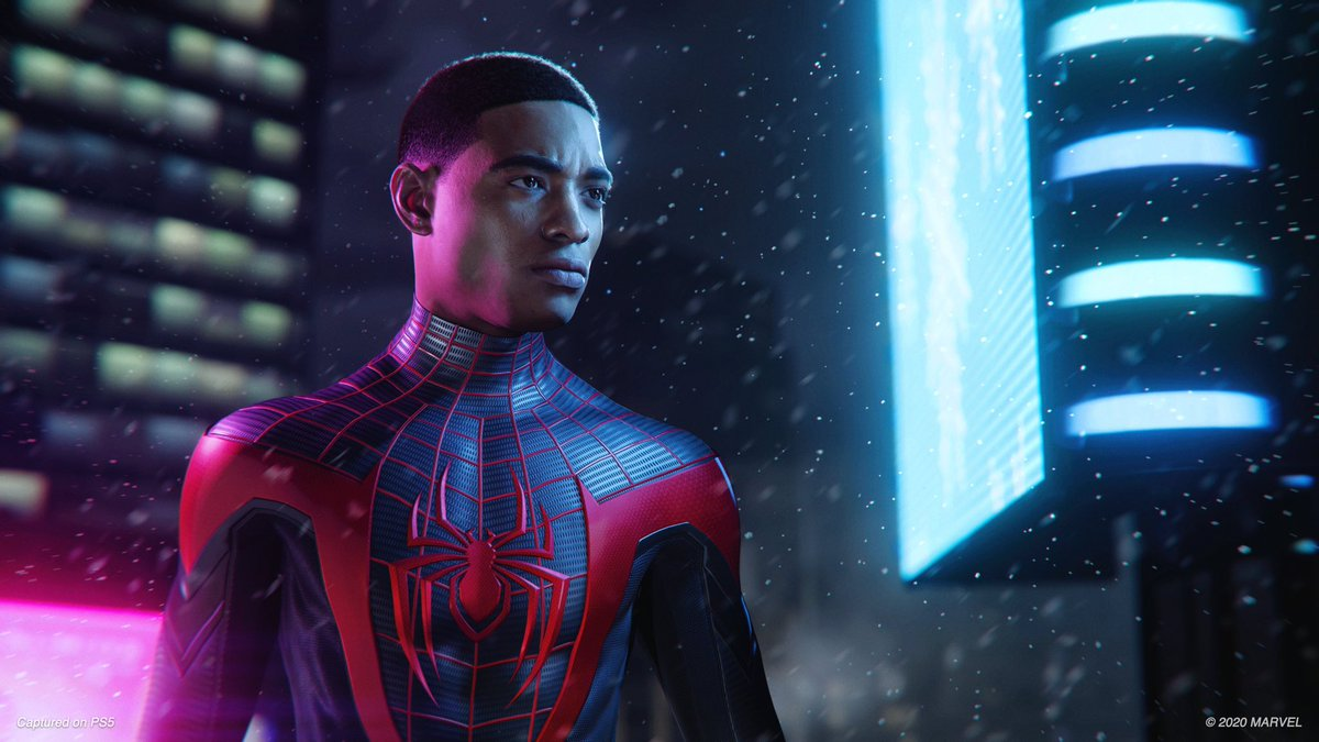 Four amazing new images from the #SpiderMan: Miles Morales trailer #PS5 (Via @IGN)