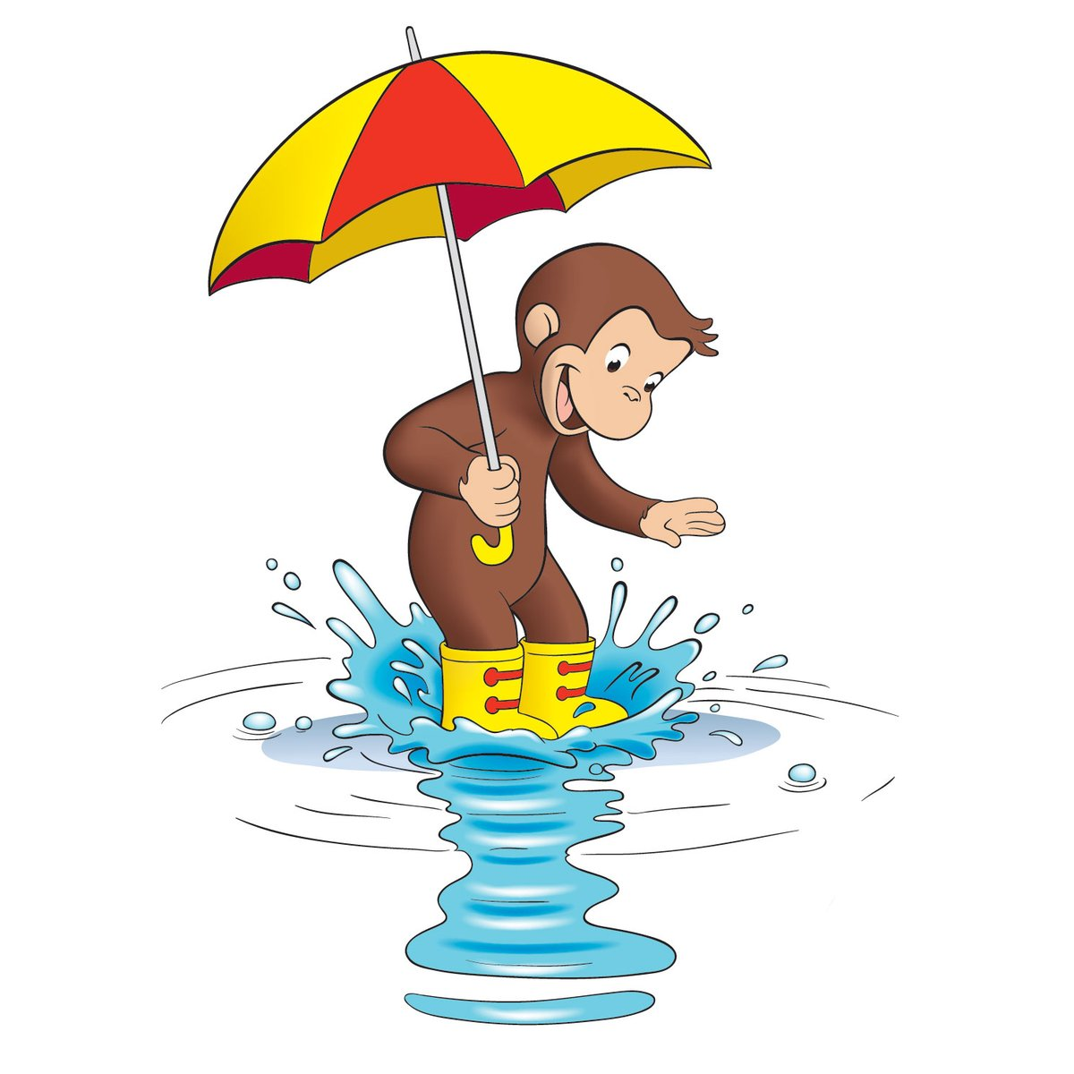 おさるのジョージ 公式 あしたはどんな天気かな バシャバシャ ジャポンッ 雨の日もジョージは楽しいこといっぱい おさるのジョージ おさるのジョージ部
