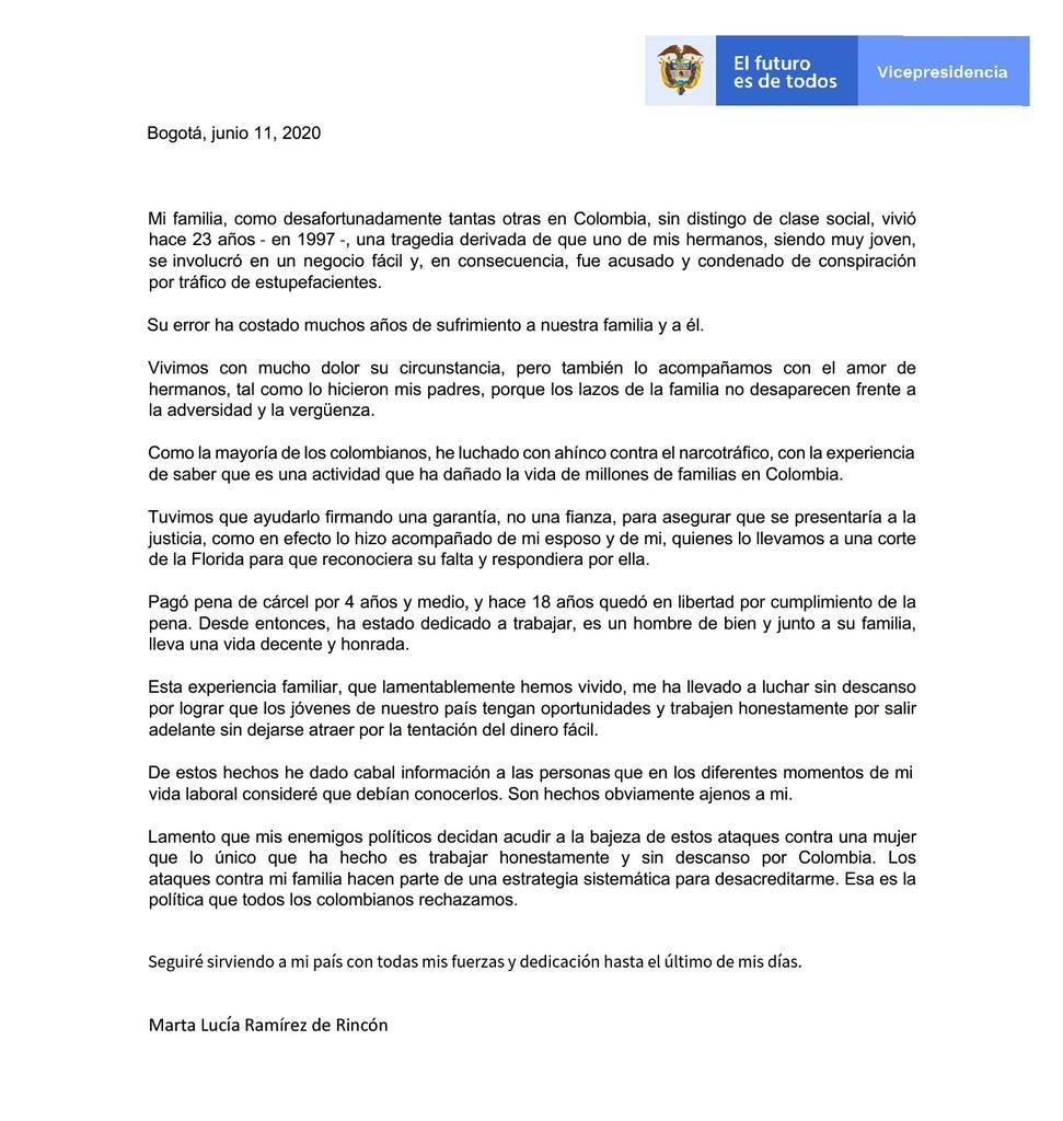 Nadie escoge a sus familiares ni tampoco puede asumir las culpas de otros. La vicepresidenta de Colombia @mluciaramirez actuó como correspondería a una hermana. Lo lamentable es que el país se haya enterado de esta manera. (HILO) https://t.co/vpPIHzWqpg