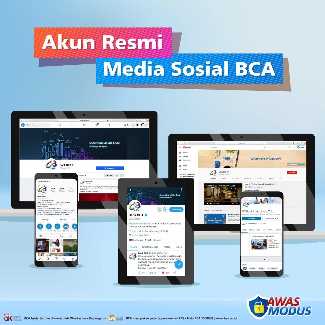 Sudah tahu akun resmi BCA di media sosial? Pastikan Anda hanya mengikuti akun resmi BCA yang memiliki centang biru atau terverifikasi. Anda harus wapada jika dihubungi oleh akun palsu yang mengaku dari BCA dan meminta data pribadi. #AwasModus Info: https://t.co/akPA22TU3r https://t.co/9tNfXCxwZU